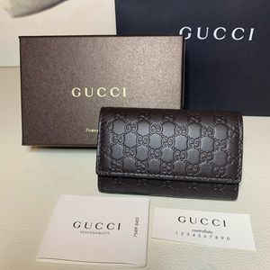 NEW Gucci Key Case Brown Micro GG